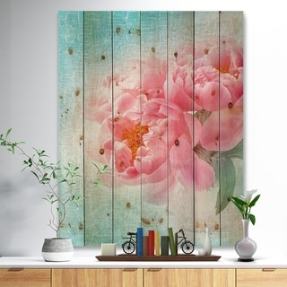 Designart 'Peony Flowers Merged to Blue' Floral Farmhouse Print on Natural Pine Wood - Blue