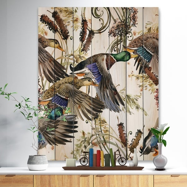 Designart 'Illustration of colored duck' Farmhouse Animal Painting Print on Natural Pine Wood - White