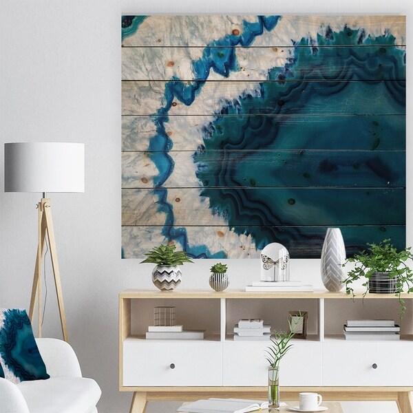 Designart 'Blue Brazilian Geode' Abstract Print on Natural Pine Wood - Blue