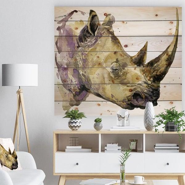 Designart 'Rhinoceros watercolor' Animals Painting Print on Natural Pine Wood - White