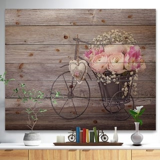 'Ranunculus Flowers in Bicycle Vase' Floral Farmhouse Print on Natural Pine Wood - Grey