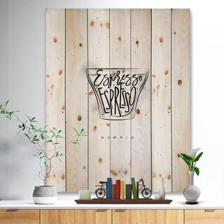 'Doppio cup white' Food Painting Print on Natural Pine Wood - White