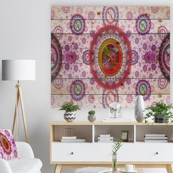 Designart 'Pink Psychedelic Relaxing Art' Abstract Print on Natural Pine Wood - Pink