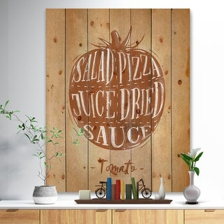 'Tomato cutting scheme craft' Farmhouse Food Painting Print on Natural Pine Wood - Brown