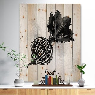 Designart 'Beet cutting scheme' Farmhouse Food Painting Print on Natural Pine Wood - White