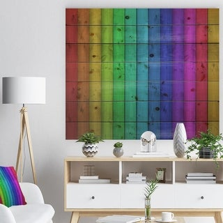 Designart 'Rainbow Colors On Wooden' Contemporary Painting Print on Natural Pine Wood - Multi-color