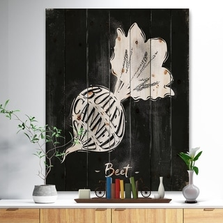 Designart 'Beet cutting scheme chalk' Farmhouse Food Painting Print on Natural Pine Wood - Black