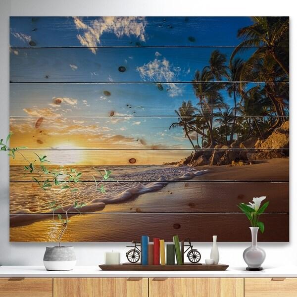 Designart 'Paradise Tropical Island Beach Sunrise' Seashore Print on Natural Pine Wood - Blue