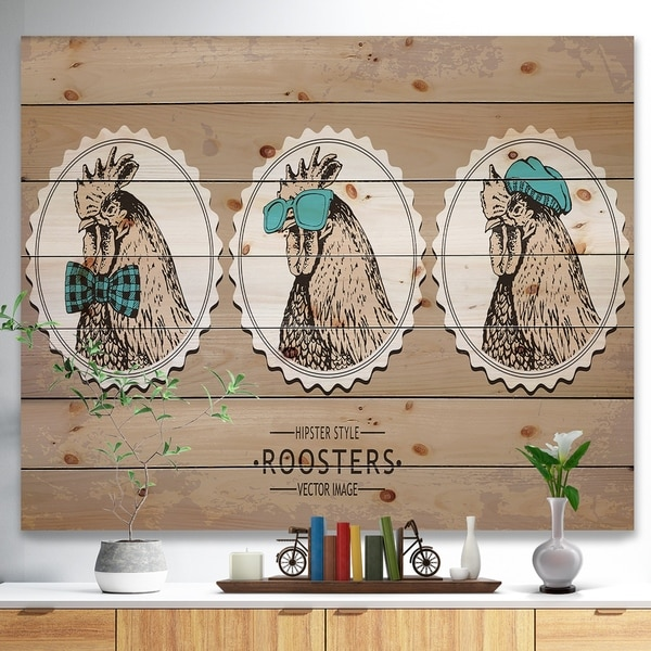 Designart 'Handdrawn vintage rooster hipster style' Farmhouse Animals of Painting Print on Natural Pine Wood - Brown
