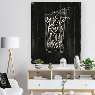 Designart 'Mojito cocktail chalk' Food Painting Print on Natural Pine Wood - Black
