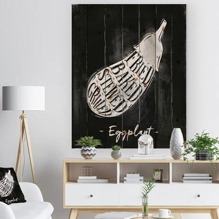 Designart 'Eggplant cutting scheme chalk' Farmhouse Food Painting Print on Natural Pine Wood - Black