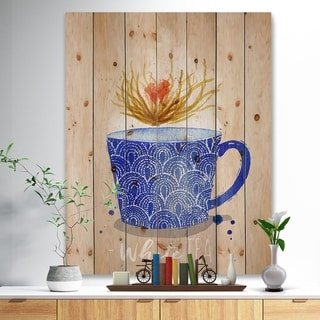 Designart 'Teacup white tea kraft' Food Painting Print on Natural Pine Wood - Blue