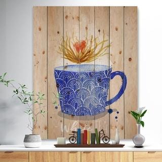 Designart 'Teacup white tea kraft' Food Painting Print on Natural Pine Wood - Blue