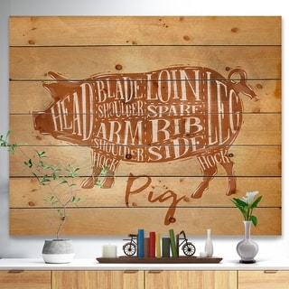 Designart 'Pig pork cutting scheme craft' Farmhouse Animal Painting Print on Natural Pine Wood - Brown