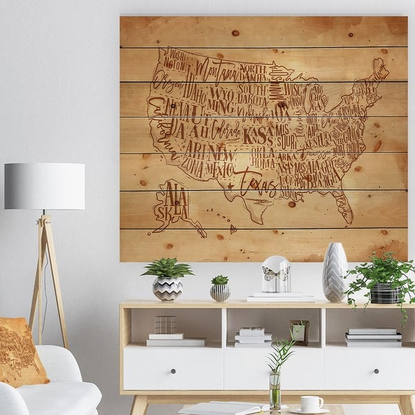 Designart 'Vintage United States Chalk Yellow Map' Maps Painting Print on Natural Pine Wood - Brown