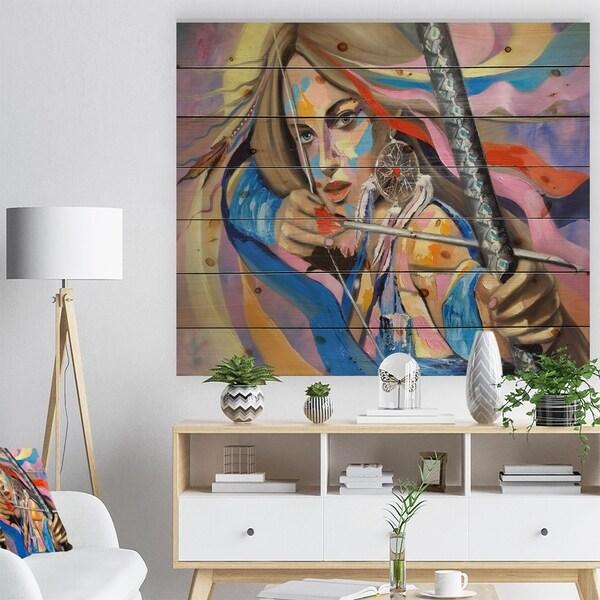 Designart 'Woman Portrait Dream Catcher' Glamour Painting Print on Natural Pine Wood - Multi-color