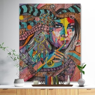 Designart 'Woman Portrait In Your Dreams' Glamour Painting Print on Natural Pine Wood - Multi-color