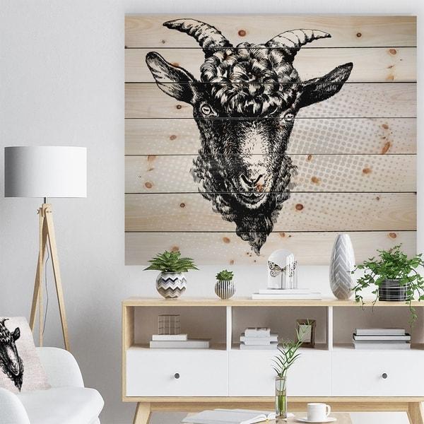 Designart 'Black Goat' Farmhouse Animal Painting Print on Natural Pine Wood - White