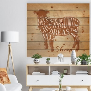 Designart 'Sheep lamb cutting scheme craft' Farmhouse Animal Painting Print on Natural Pine Wood - Brown