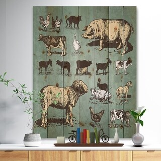 Designart 'Farm animals vintage set' Sketch of Farmhouse Animals of Painting Print on Natural Pine Wood - Brown