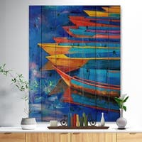 Designart 'Boats and Jetty at Pier in Oil Painting' Sea & Shore Painting Print on Natural Pine Wood - Blue