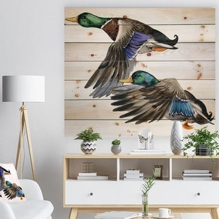 Designart 'hand Drawn Colored Duck isolated white background' Sketch of Farmhouse Animals of Painting Print on Natural Pine Wood