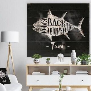 Designart 'Tuna cutting scheme chalk' Farmhouse Animal Painting Print on Natural Pine Wood - Black