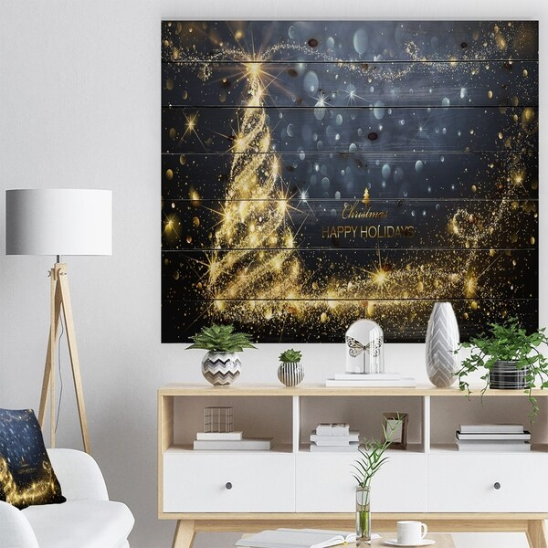 Designart 'Sparkling Shining Light Christmas Tree' Print on Natural Pine Wood - yellow & gold