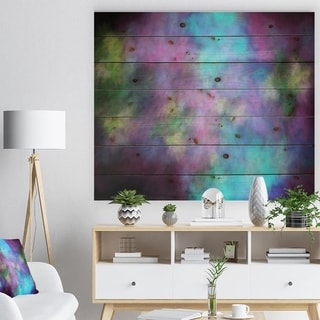 Designart 'Perfect Blue Purple Starry Sky' Abstract Print on Natural Pine Wood