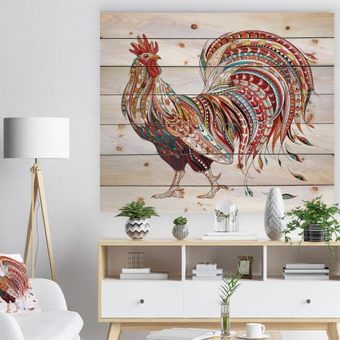 Designart 'Patterned rooster Symbol of chinese new year' Farmhouse Animals of Painting Print on Natural Pine Wood - White