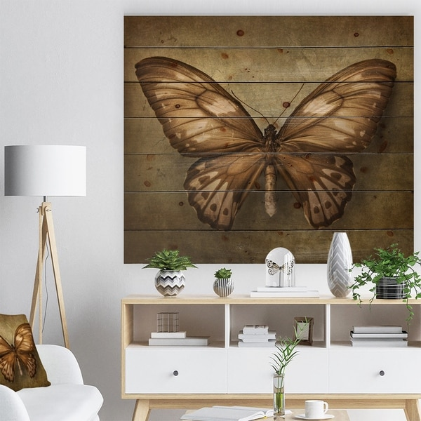 Designart 'Vintage Butterfly' Vintage Painting Print on Natural Pine Wood - Brown