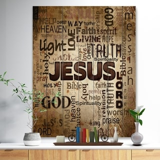 Designart 'Jesus' word cloud in grunge background' Religious Contemporary Print on Natural Pine Wood - Brown