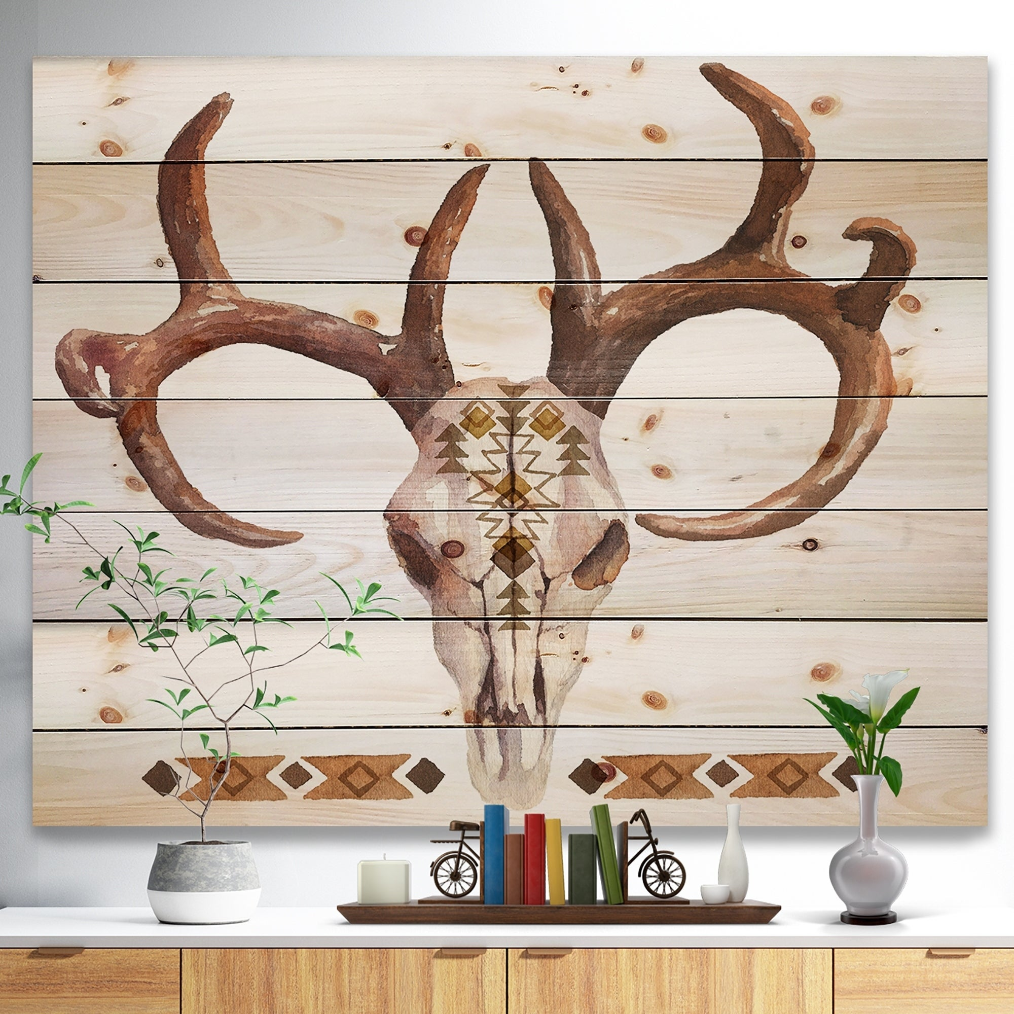 Shop Designart U0027Real Deer Antler Sketchu0027 Farmhouse Animal Painting Print On  Natural Pine Wood   White   On Sale   Free Shipping Today   Overstock    23107671