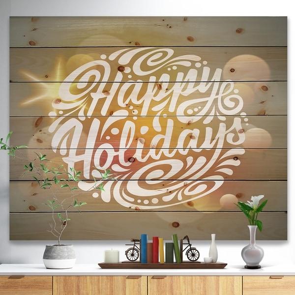 Designart 'Happy Holidays Christmas Tree Ball shaped' Print on Natural Pine Wood - White
