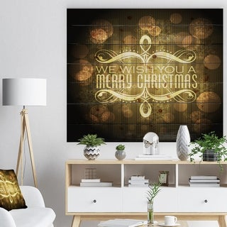 Designart 'Stylish Merry Christmas Wish on Yellow and Black' Print on Natural Pine Wood - yellow & gold
