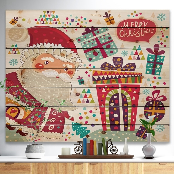 Designart 'Santa Claus with Christmas presents' Print on Natural Pine Wood - Red