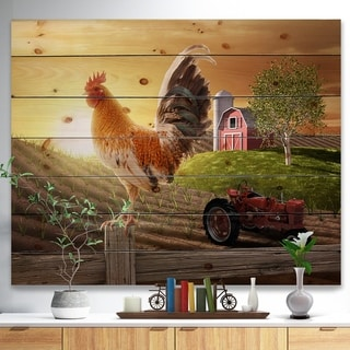 Designart 'Country Farm Morning' Farmhouse Animal Painting Print on Natural Pine Wood - Brown