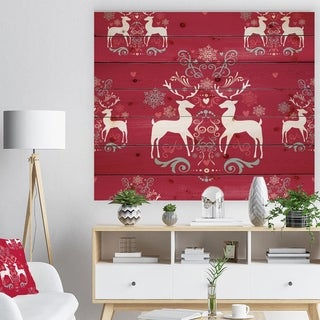 Designart 'Lovely Reindeer Christmas Pattern with Crystal Flakes' Print on Natural Pine Wood - Red
