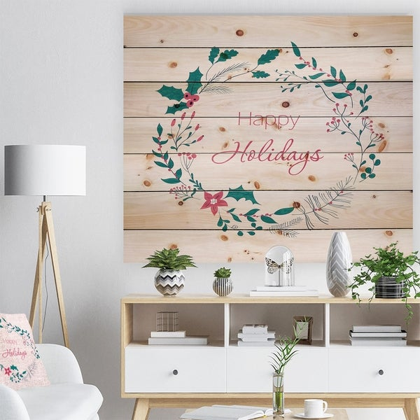 Designart 'Happy Holidays in Christmas Wreath' Print on Natural Pine Wood - Red