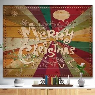 Designart 'Merry Christmas Handwritten on vintage rainbow colours' Print on Natural Pine Wood - ivory & cream