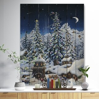 Designart 'Elf houses under large lighted Christmas trees' Print on Natural Pine Wood - Blue