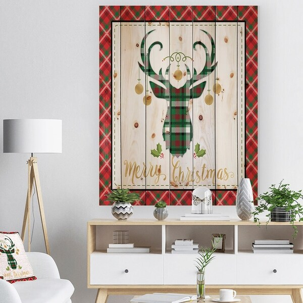 Designart 'Christmas Wish composition on Plaid' Print on Natural Pine Wood - Red