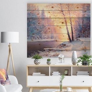 Designart 'Winter Landscape with a River' Landscapes Painting Print on Natural Pine Wood - White