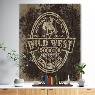 'Wild west rodeo' Farmhouse Art Print on Natural Pine Wood - Brown