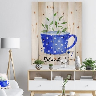 Designart 'Teacup black tea' Food Painting Print on Natural Pine Wood - Blue