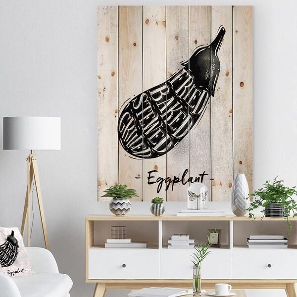 Designart 'Eggplant cutting scheme' Farmhouse Food Painting Print on Natural Pine Wood - White