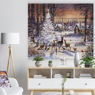 'Christmas Woods with Deer, Buck and Owl' Print on Natural Pine Wood - White