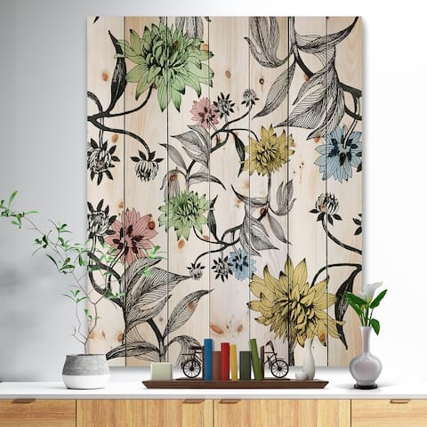Designart 'Hand drawn summer flowers' Floral Painting Print on Natural Pine Wood - White