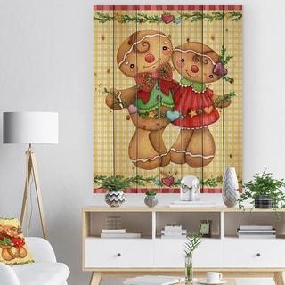 Designart 'Christmas Gingerbread Love' Print on Natural Pine Wood - yellow & gold