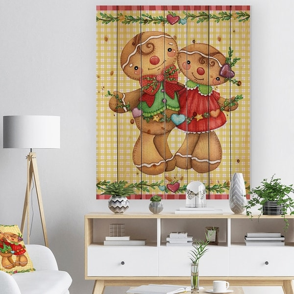 Designart 'Christmas Gingerbread Love' Print on Natural Pine Wood - yellow & gold